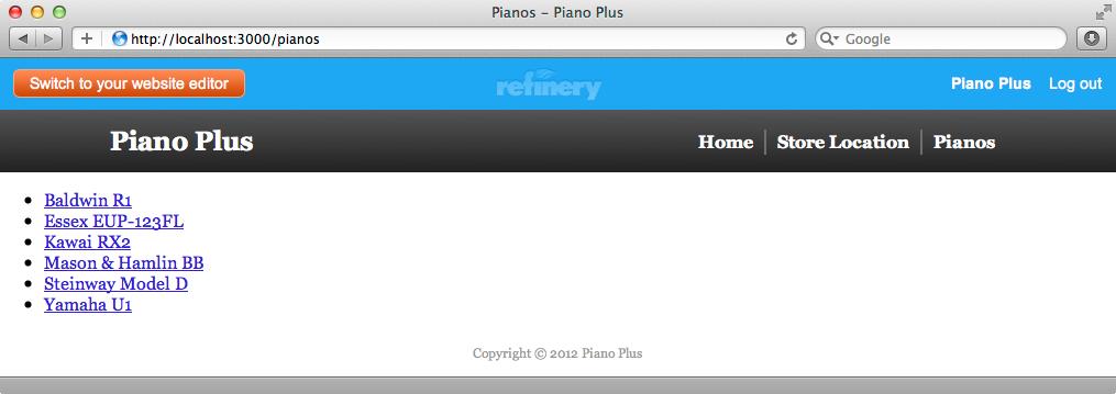 デフォルトのindexページは単にピアノの名前をリスト表示している