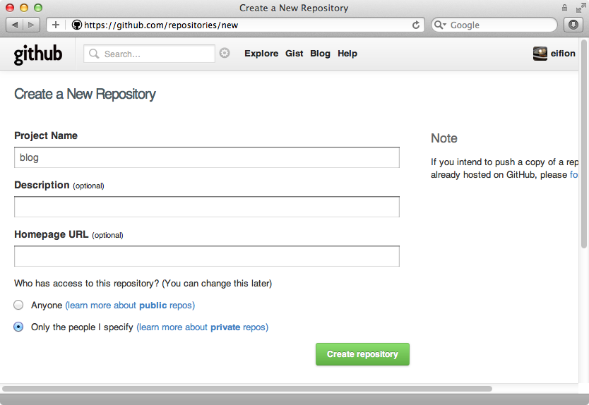 Creating a new Github repository.