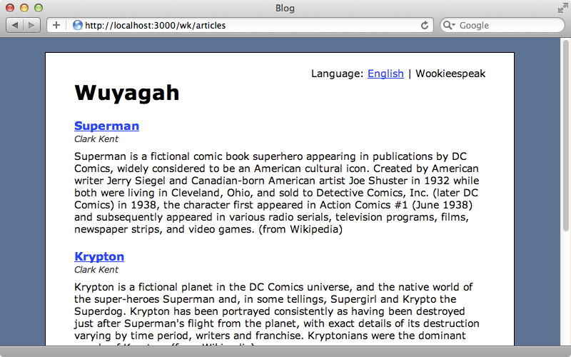 Our blogging application with the localizable text displayed in Wookieespeak.