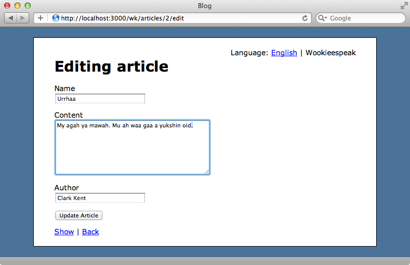 Articles can now be edited in both supported languages.