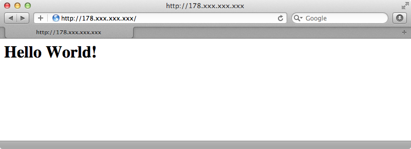 Our simple site running under Nginx.