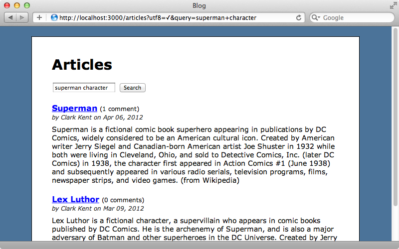 "A search for ""superman characters"" now returns the relevants articles."
