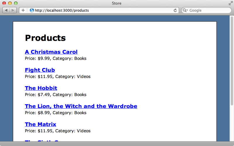 The products page.