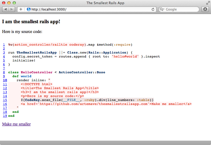 The Smallest Rails Application running on our machine.