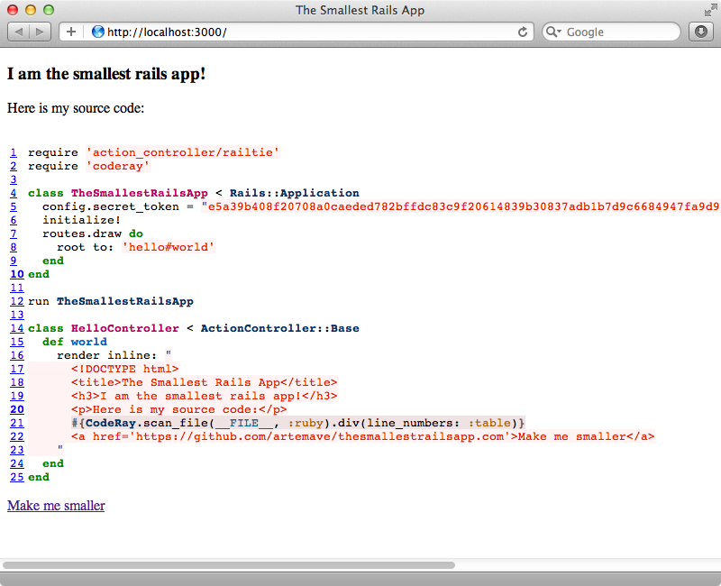 The Smallest Rails App now shows our updated code.