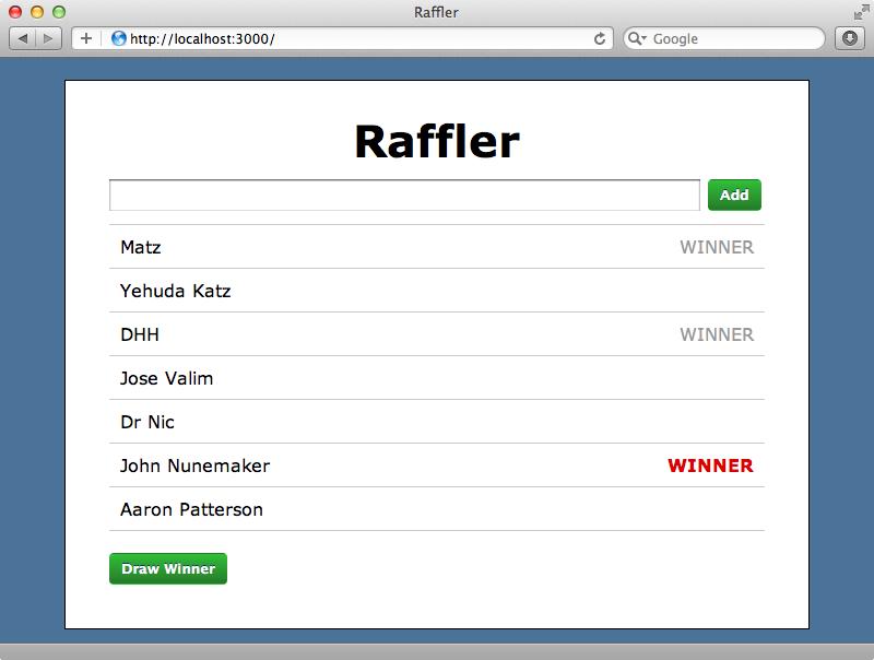 Our raffler application.