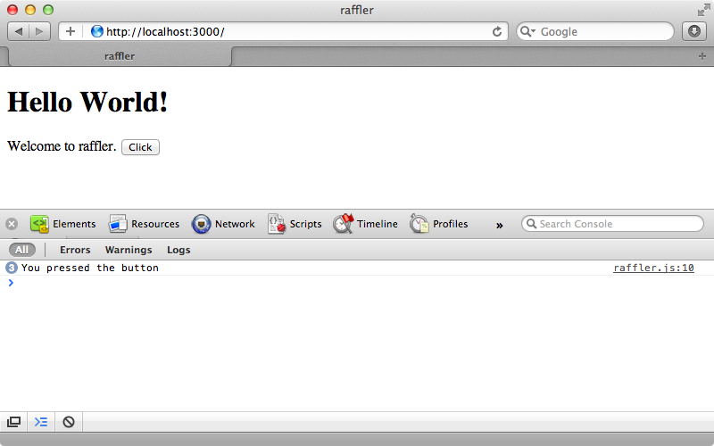 The default Meteor application running in the browser.