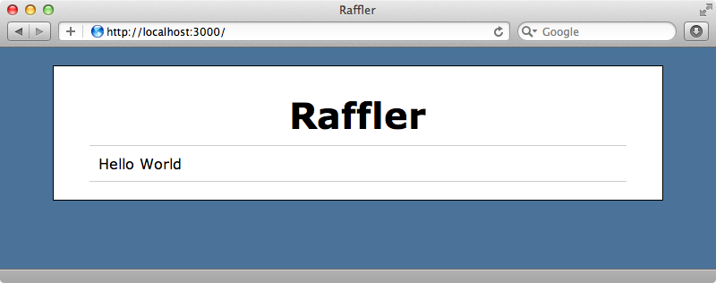 Our Raffler application showing the hard-coded entry.