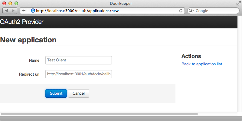 Adding an application to OAuth.