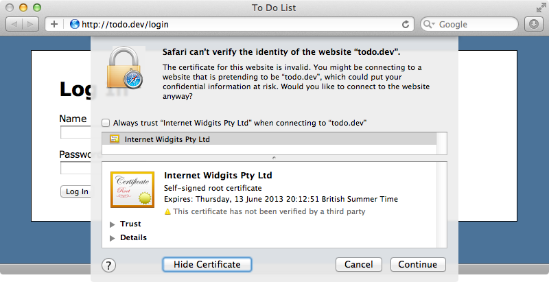 The browser warns us about our self-signed certificate.