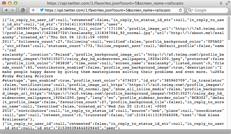 The JSON response from the API.