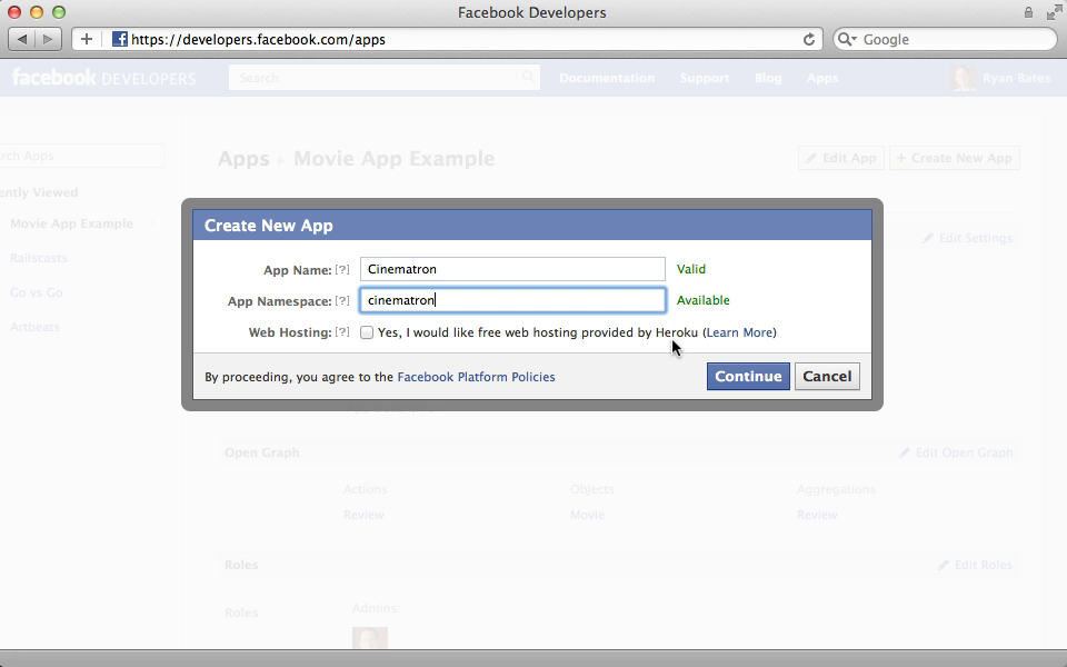 Registering our app with Facebook.