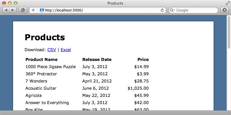La página contiene enlaces para descargar los datos en ambos formatos.