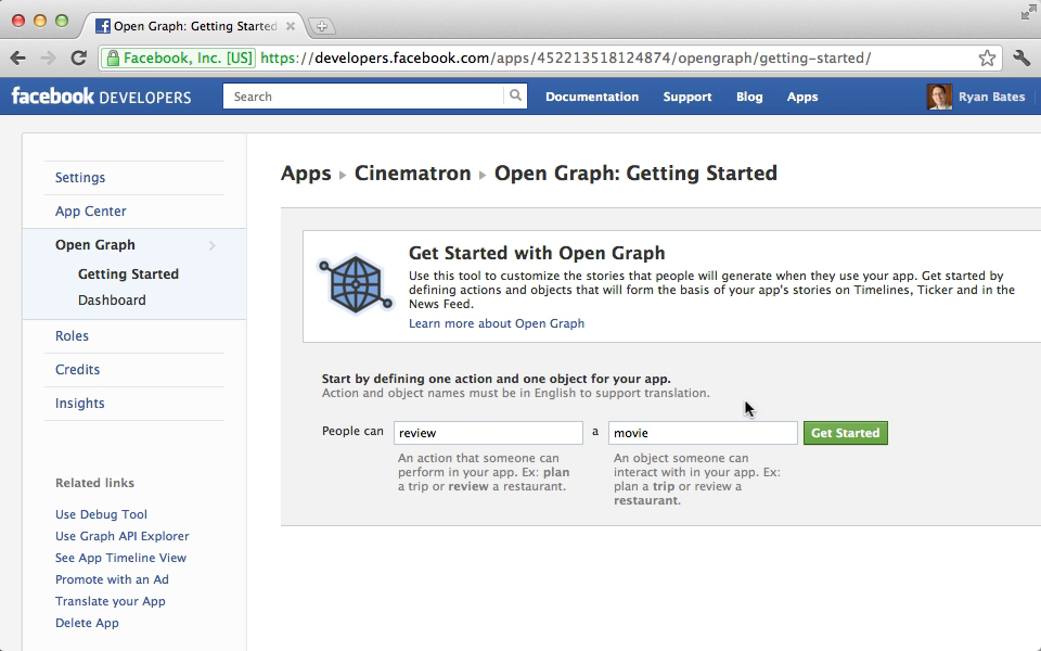 Editing our application's Open Graph settings.