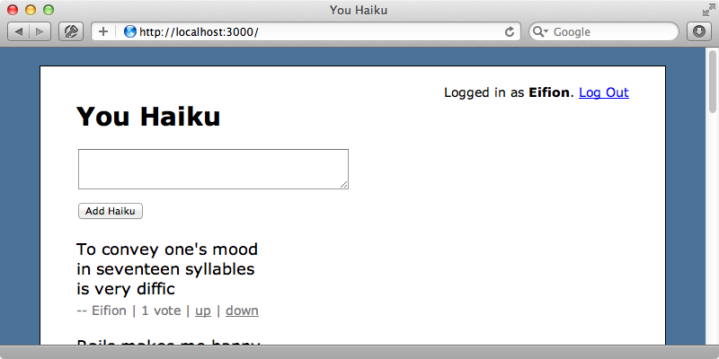 The haikus are now displayed in order of the number of votes they have.