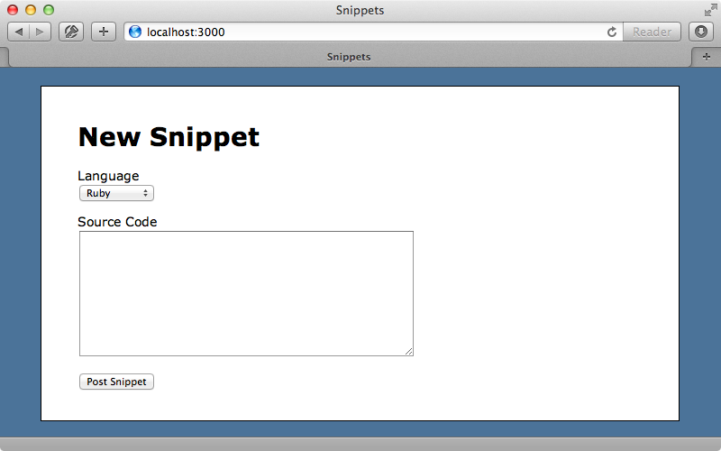 Our Snippets application.
