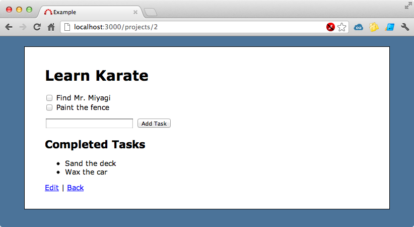 The page for adding and viewing tasks.