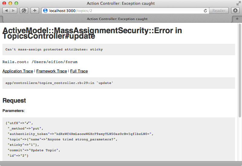 Trying to update attributes through mass assignment now throws an exception.