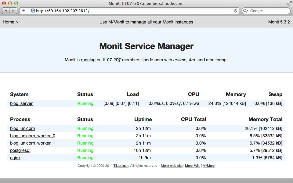 Monit's web interface.