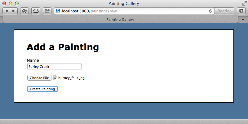 The page for adding a painting.