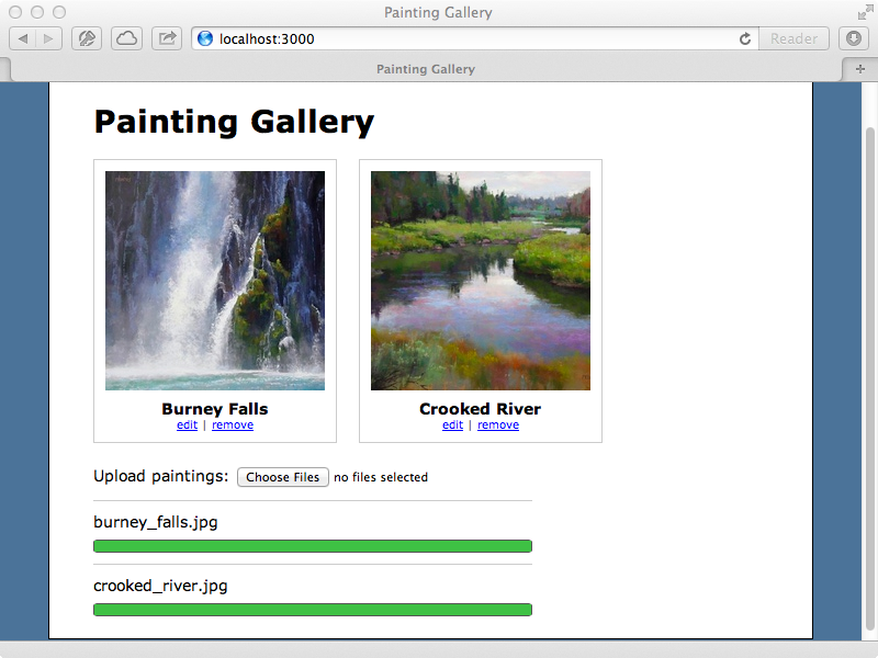 A progress bar is now displayed for each image we upload.