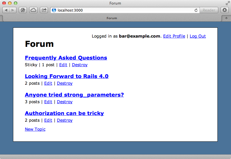 Our forum application.