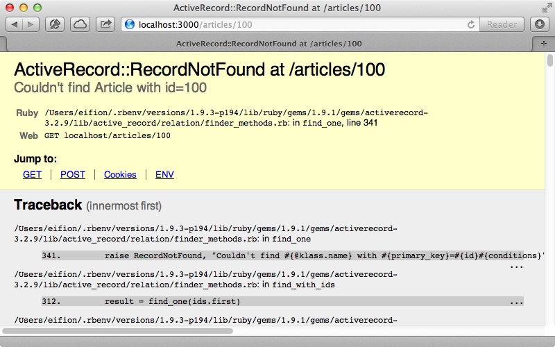 A RecordNotFound error handles by Rack::ShowExceptions.