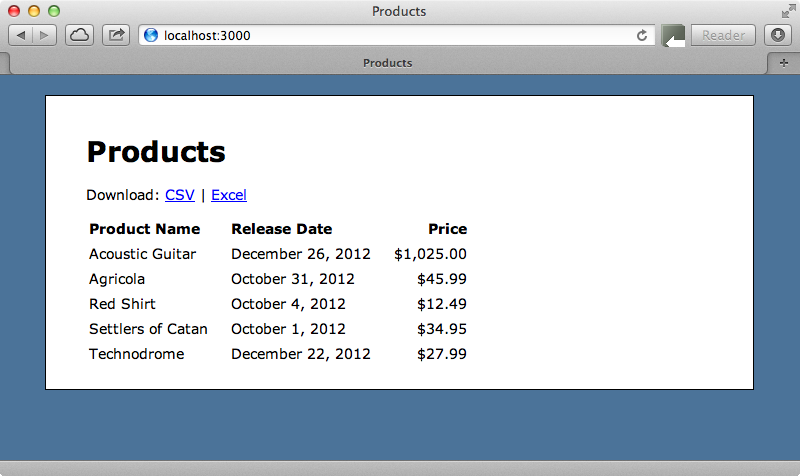 The page that shows the list of products.