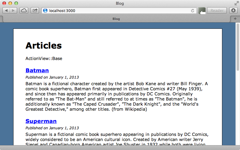 The page showing its superclass, ActionView::Base.