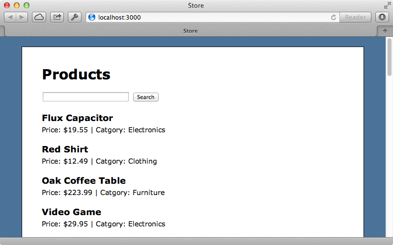 The products page of our application has a search box.