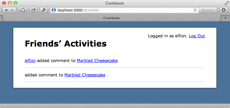 The page now shows the list of activities.