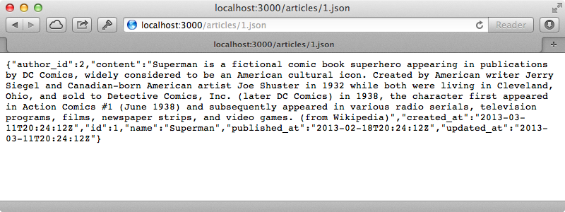 We can now view an article in JSON by appending .json to its URL.