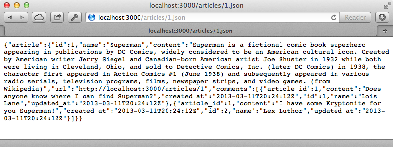 The JSON now includes the data for the associated comments.