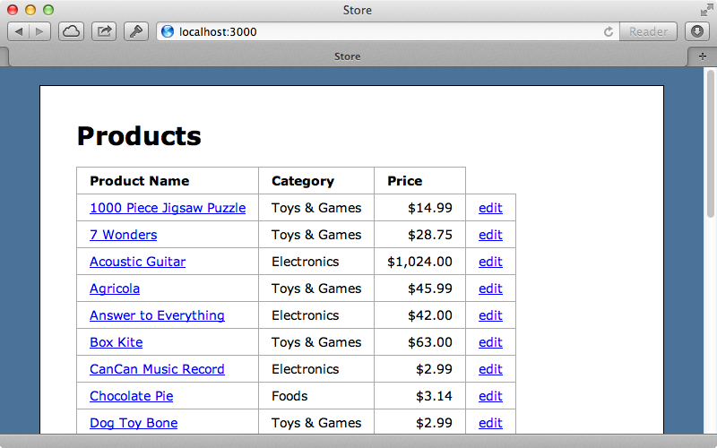 The products page of our application.