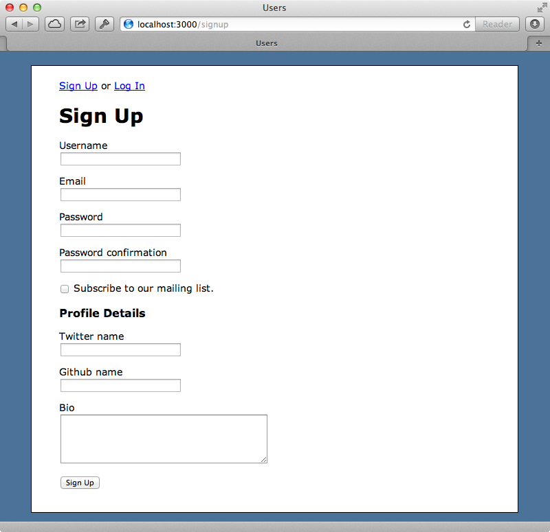Our application's signup form.