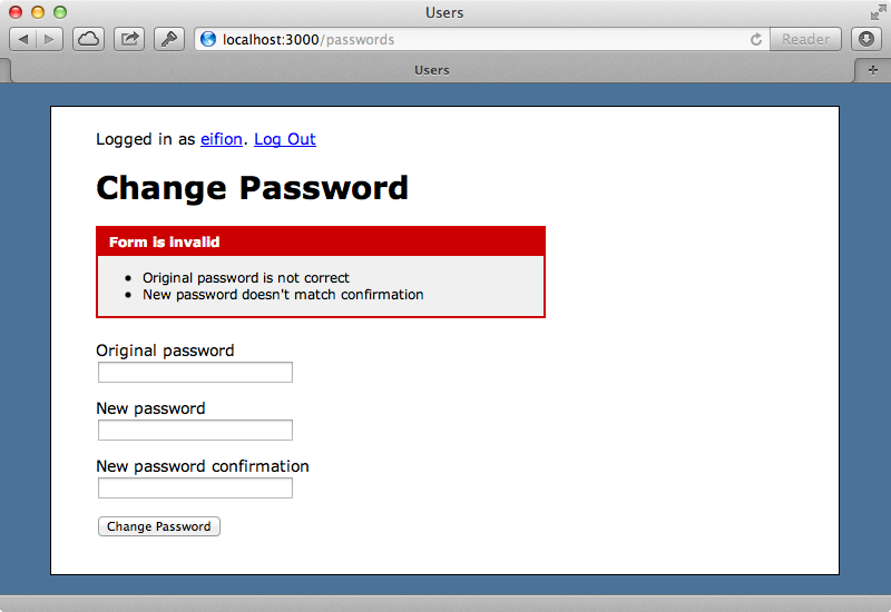 The password change form now shows errors if it is invalid.